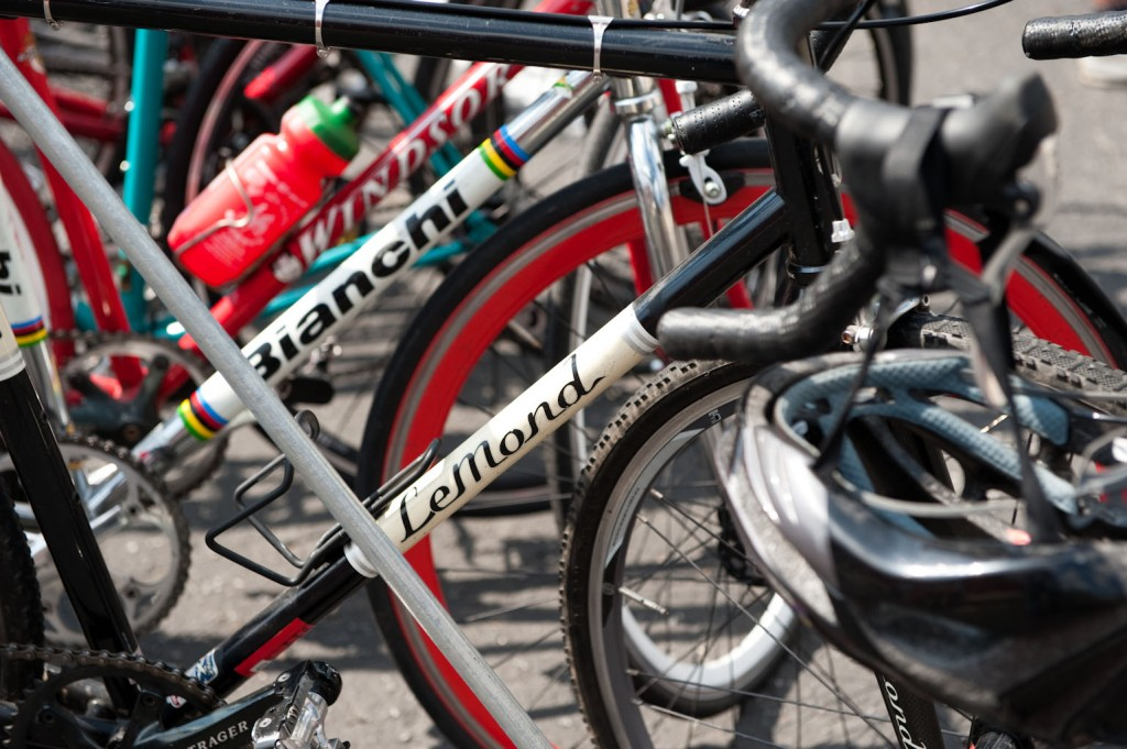 Bikes lined up, ready to start the race.