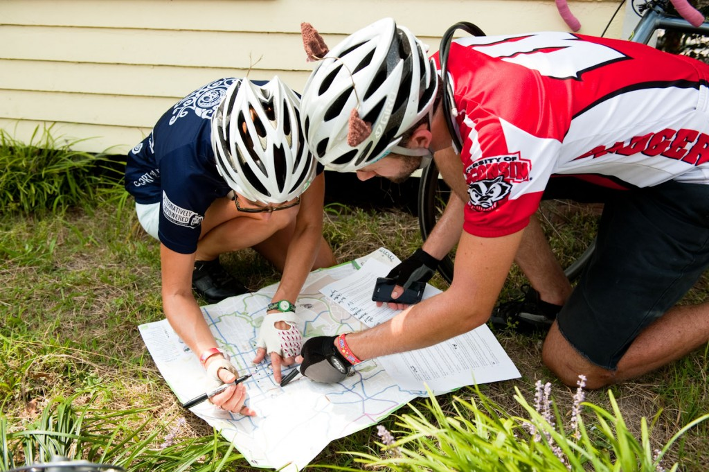 Oaks and Spokes folks decipher clues and use a city map to sketch out a good route.