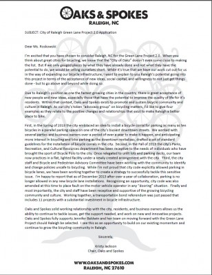 Oaks and Spokes Letter of Support - Green Lane Project