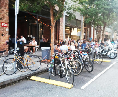 Bicycle Corral in Raleigh is overflowing with use on weekends and at popular downtown events.