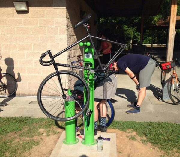 The Bicycle Repair Station at Anderson Point Park is located near the restrooms and large shelter.  Look for it!