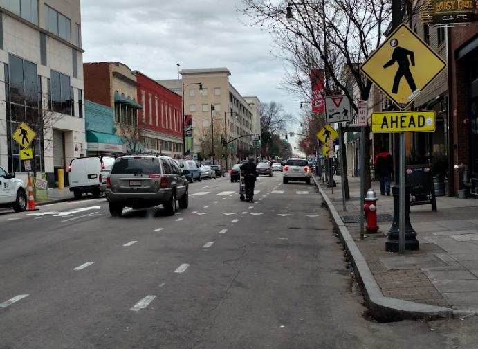 Wilmington Street Bike Lanes Pedestrians Raleigh BikeRaleigh